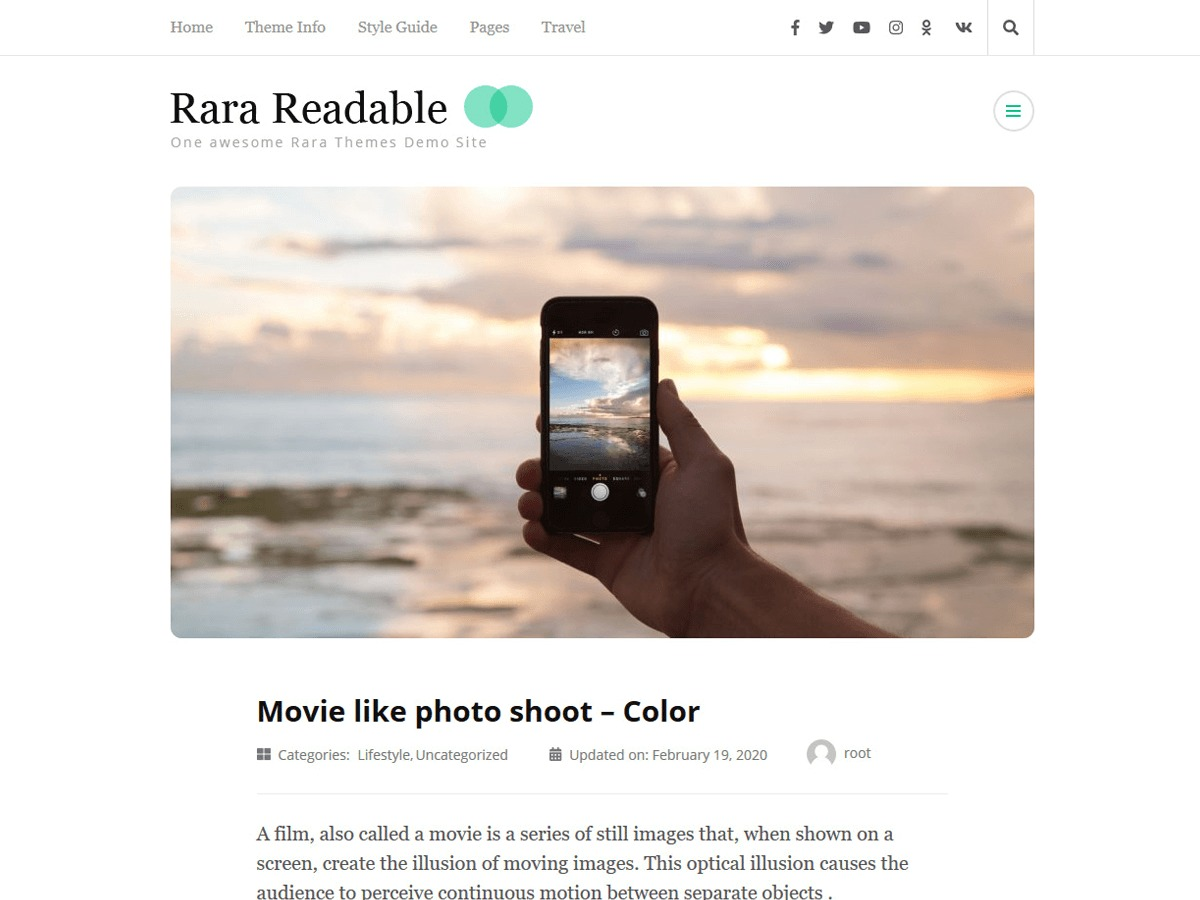 Rara Readable photography WordPress theme