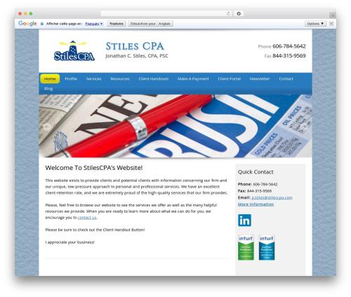 Customized business WordPress theme - stilescpa.com