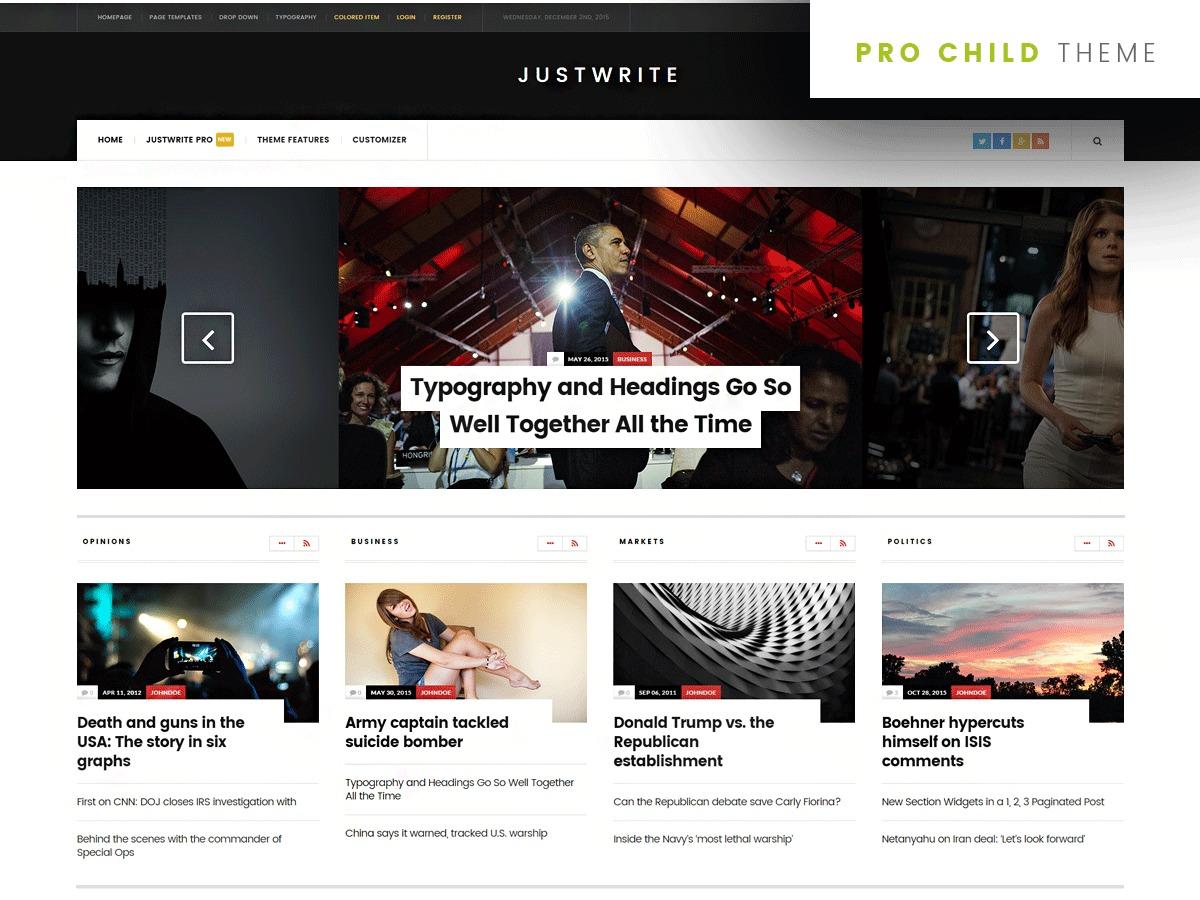 Best WordPress template JustWrite Pro Child