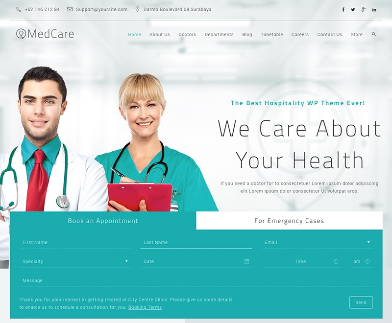 MedCare WordPress template for business