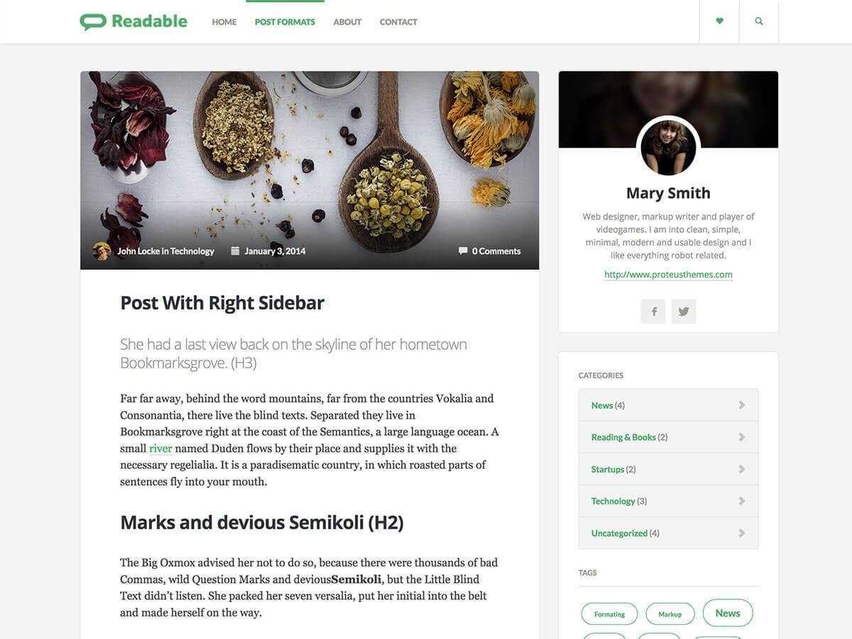 Readable WordPress magazine theme