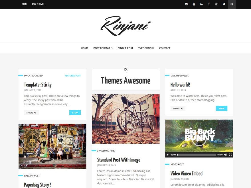 Rinjani WordPress blog theme