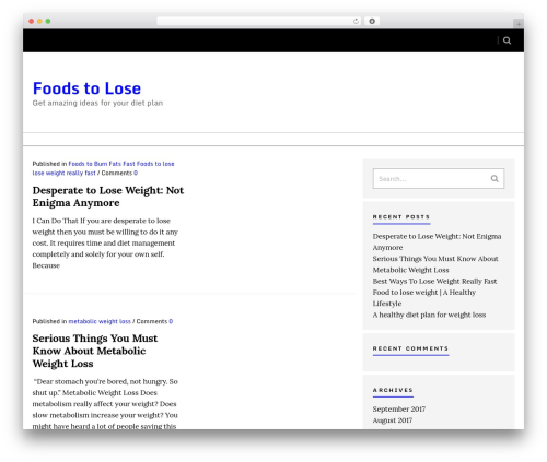 WordPress theme Sense - foodstolose.com