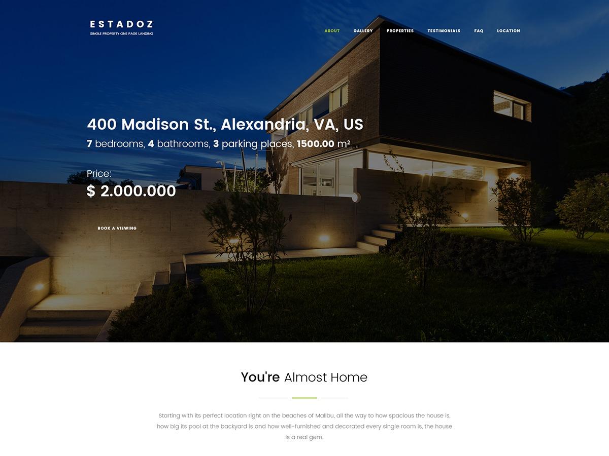 Estadoz real estate WordPress theme