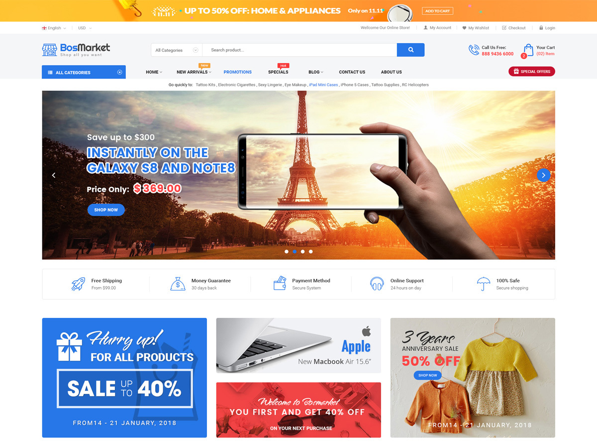 Bosmarket WordPress ecommerce theme