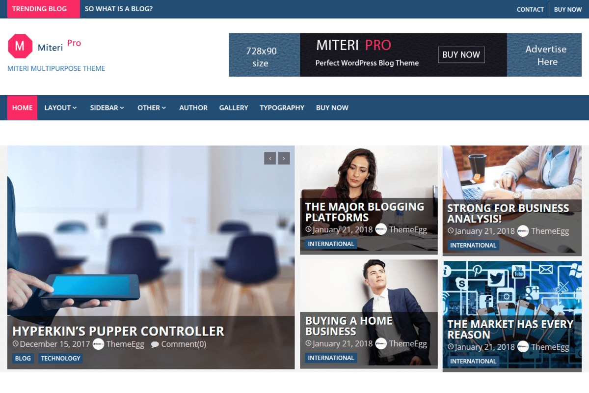 Miteri Pro WordPress template for business