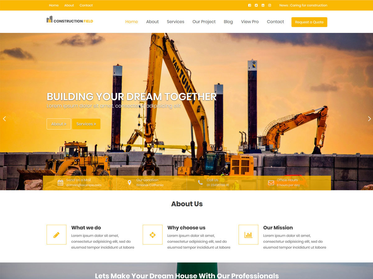 Construction Field company WordPress theme