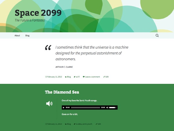WordPress website template Twenty Thirteen Green, Sequential