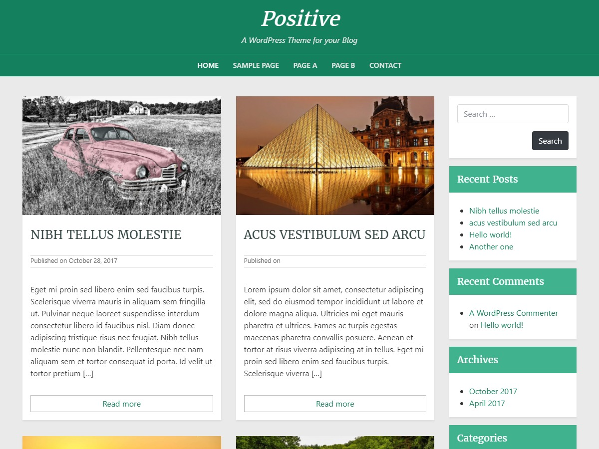 Positive blog WordPress blog theme