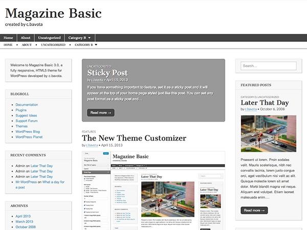 WordPress template Mgetagazine Basic Child