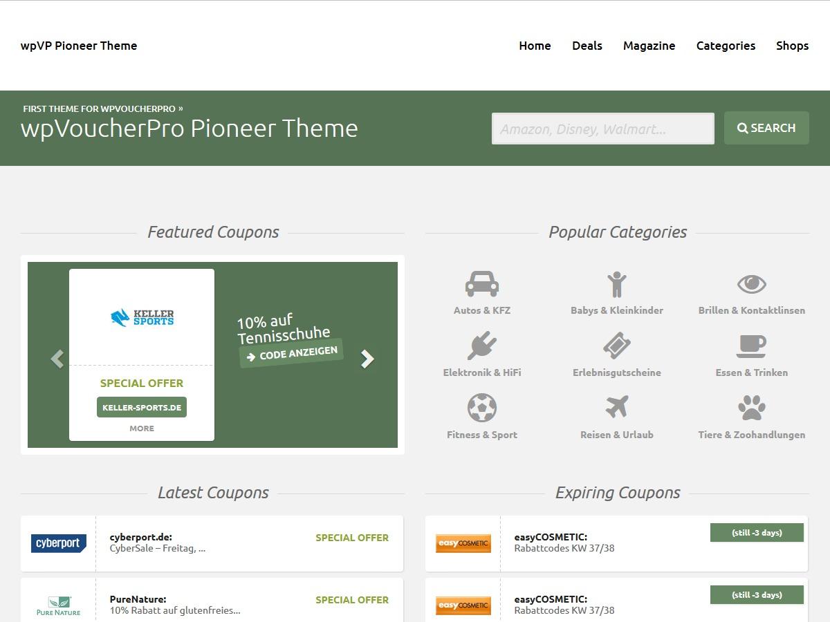wpVoucherPro Pioneer Child Theme WordPress theme