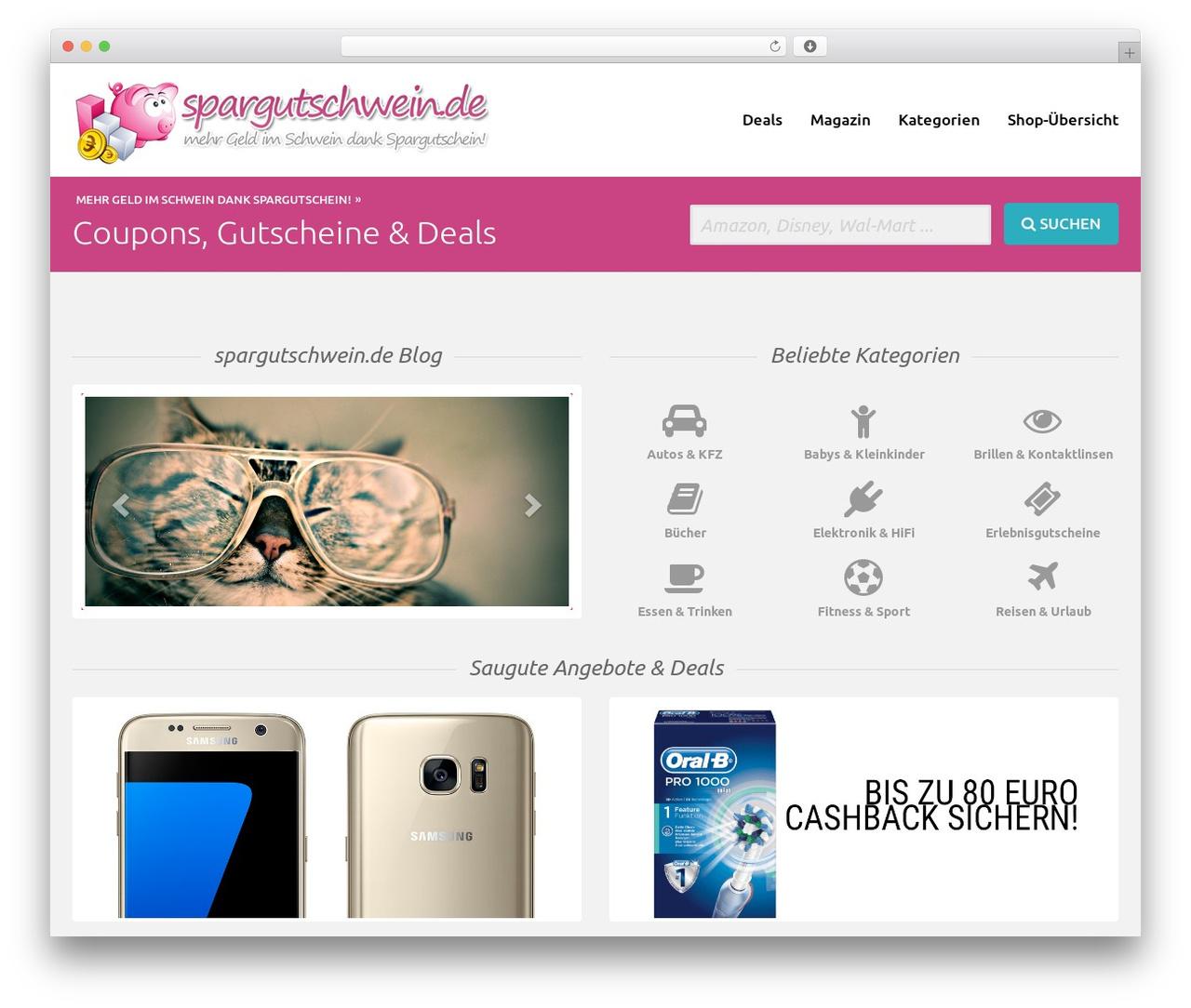 wpVP Pioneer Theme WordPress store theme - spargutschwein.de