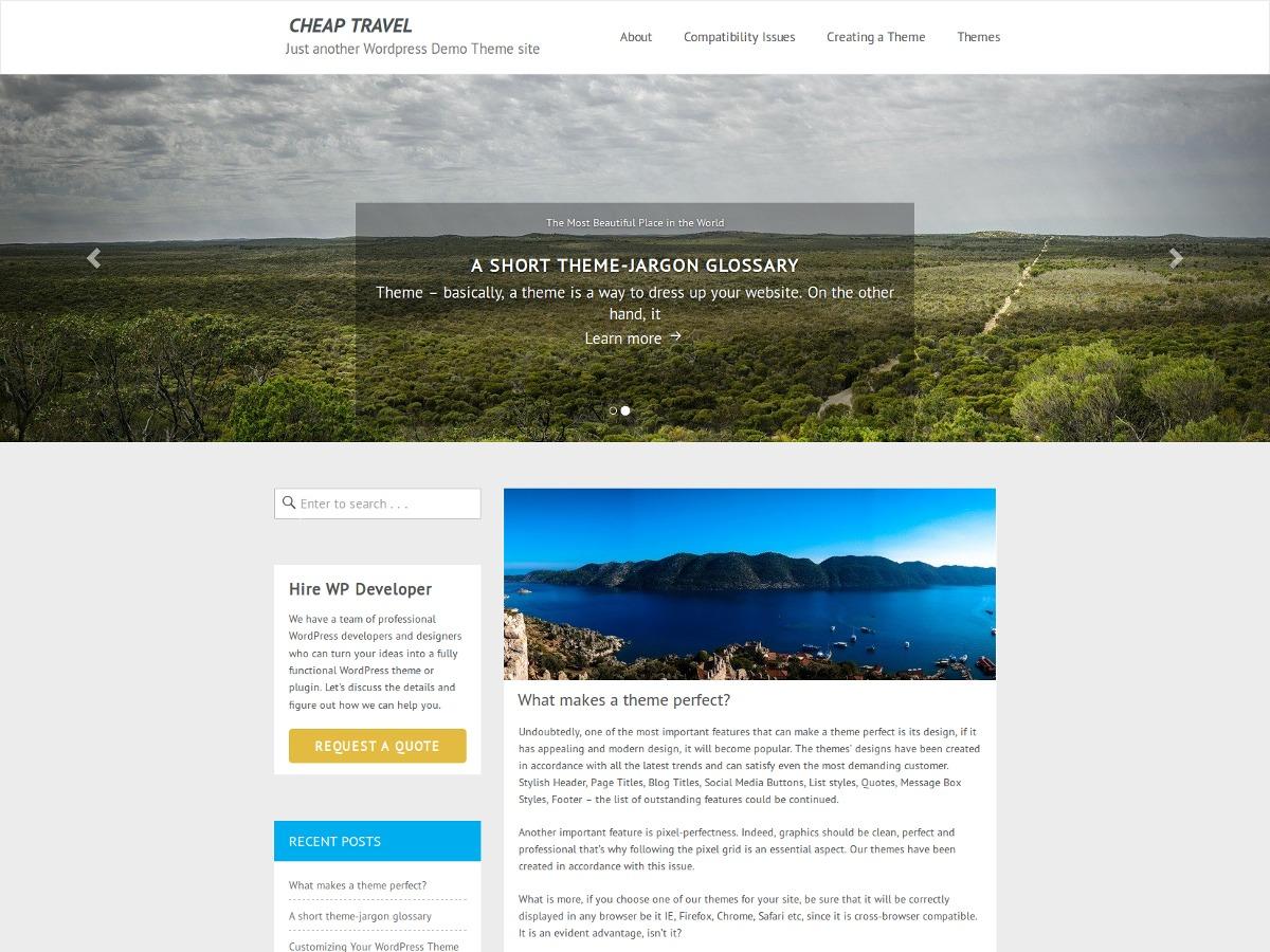 Cheap Travel WordPress theme free download