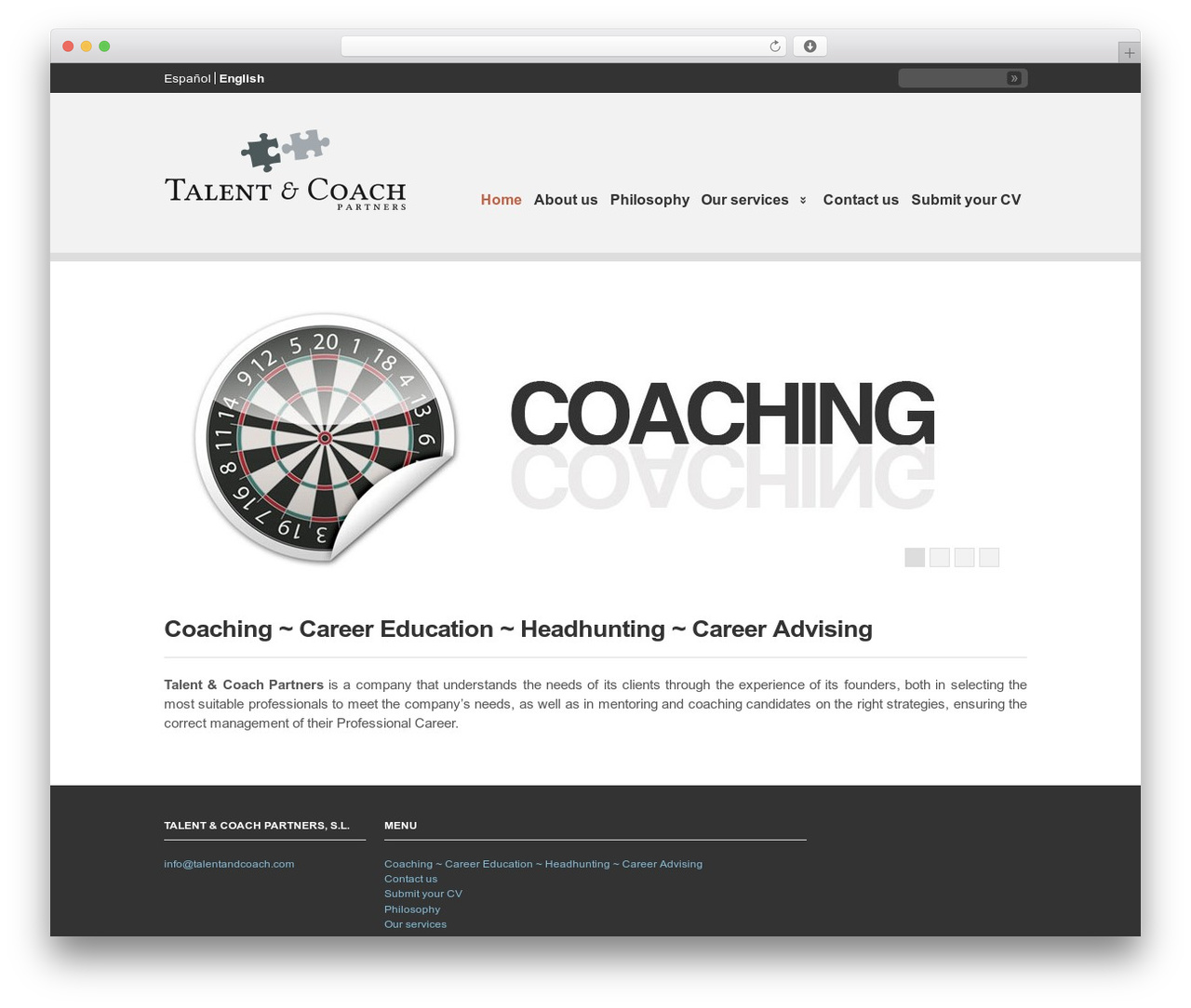 Clearly Modern WordPress template for business - talentandcoach.com