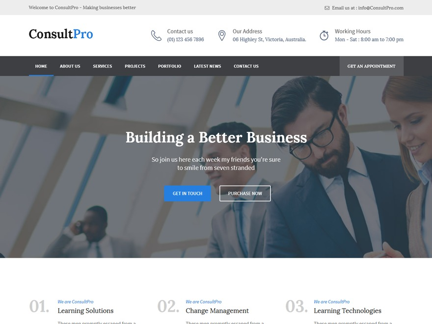 consultantpro WordPress template for business