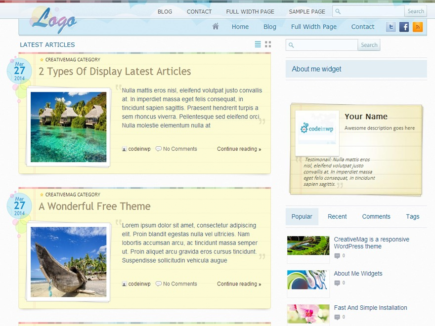 CreativeMag WordPress blog template