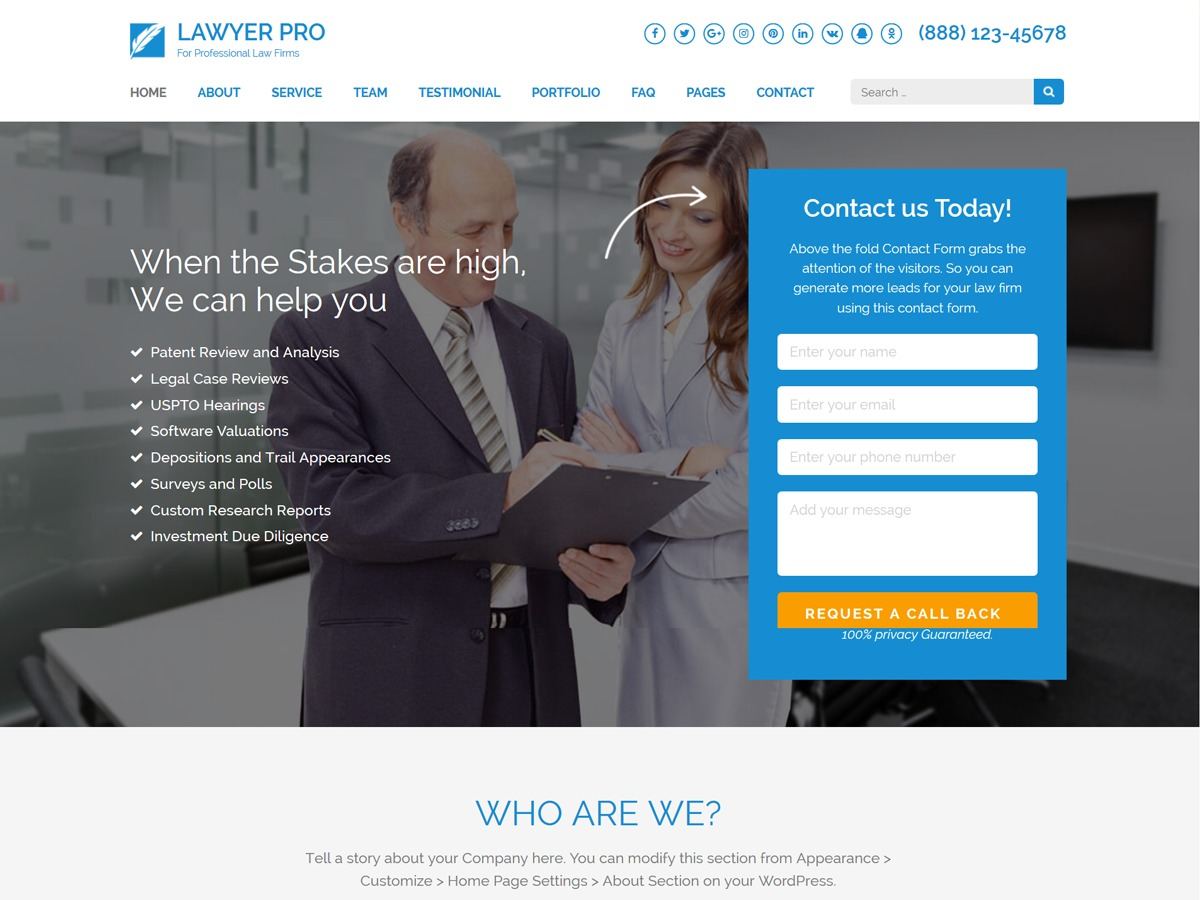 Lawyer Landing Page Pro WordPress template for business