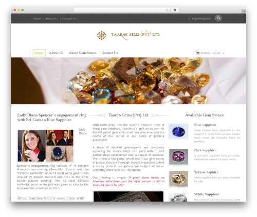 WordPress website template Jewellery - taarahgems.com