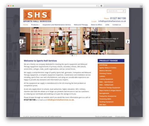 Chameleon fitness WordPress theme - sportshallservices.co.uk
