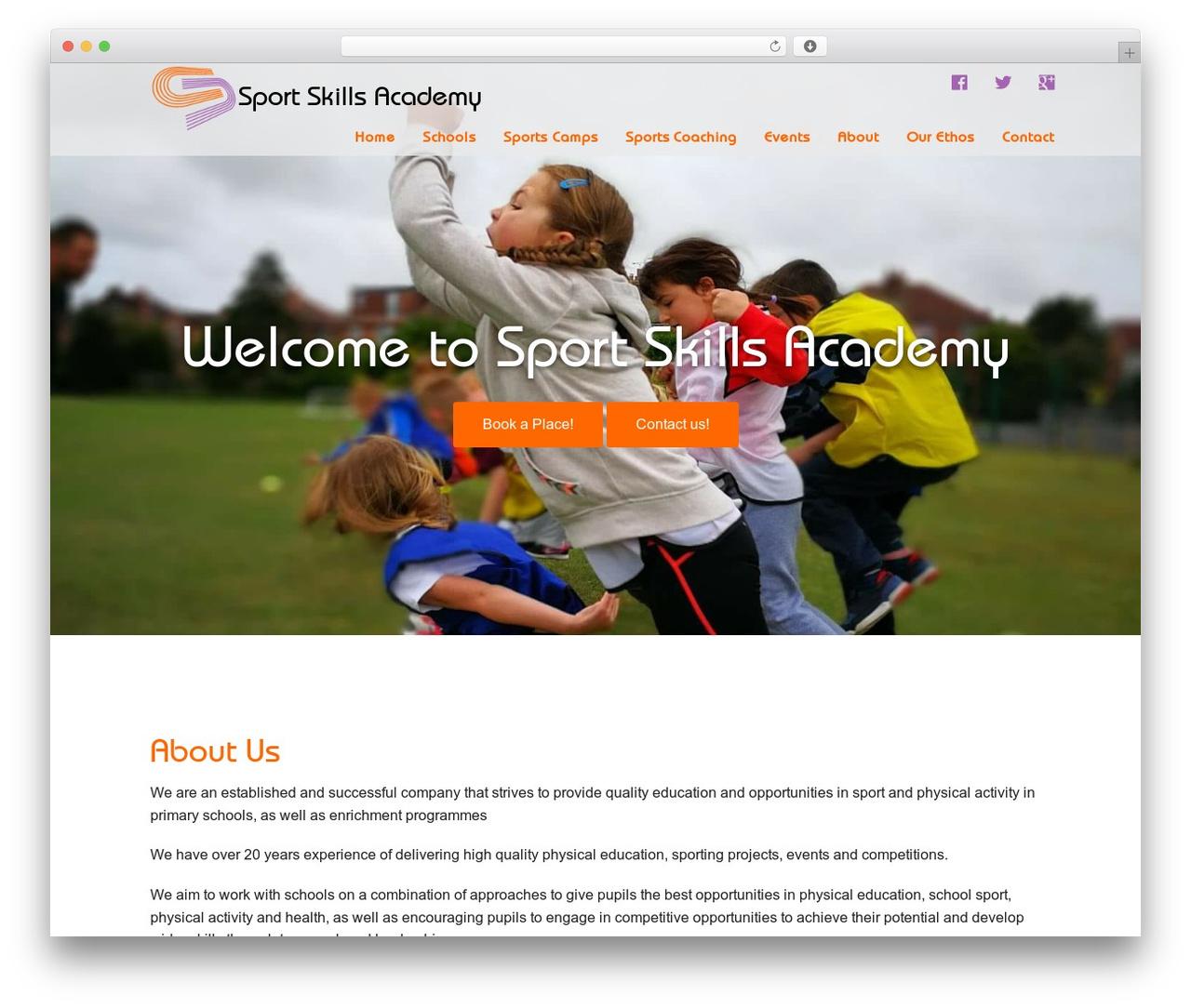 Sports Skills Academy WordPress theme - sportskillsacademy.co.uk