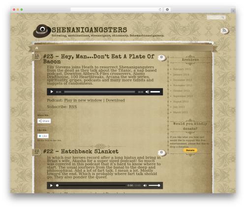Shenanigangsters WordPress template - shenanigangsters.com