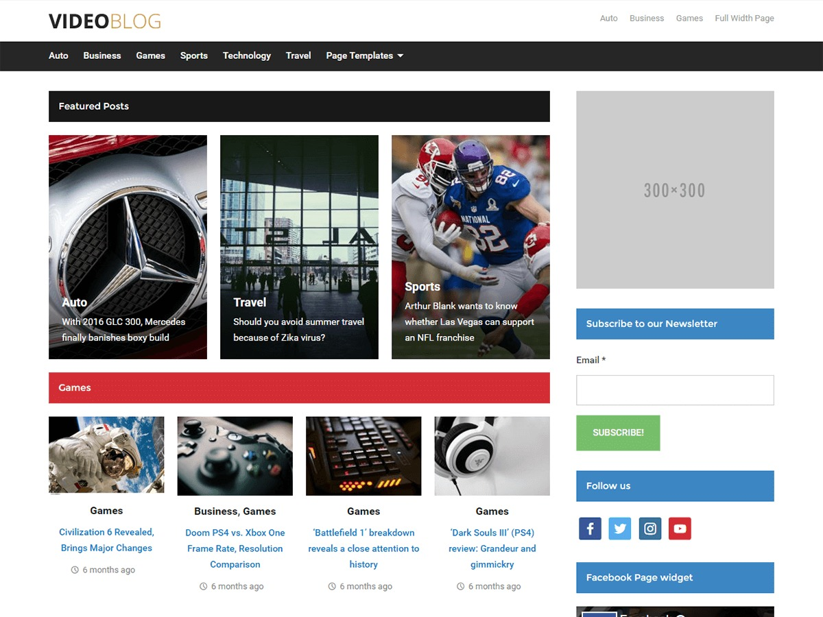videoblog Child WordPress movie theme