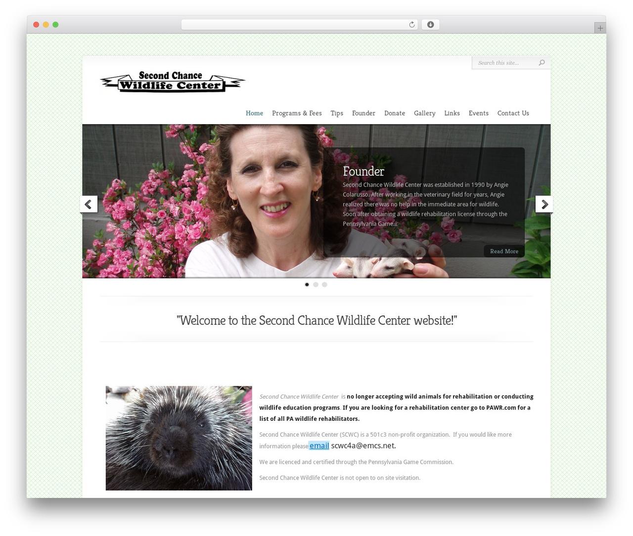 Chameleon WordPress theme - secondchancewildlifecenter.org