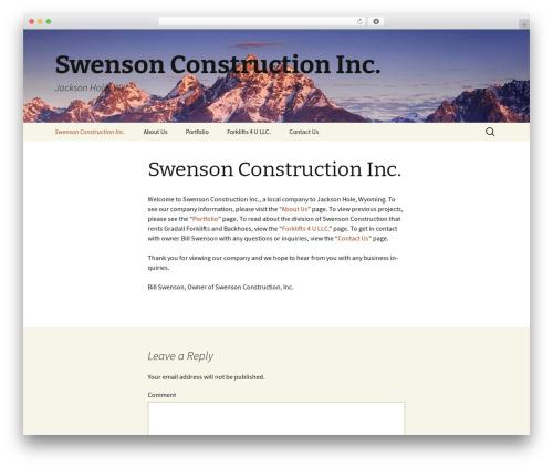 Twenty Thirteen best free WordPress theme - swensonconstructioninc.com