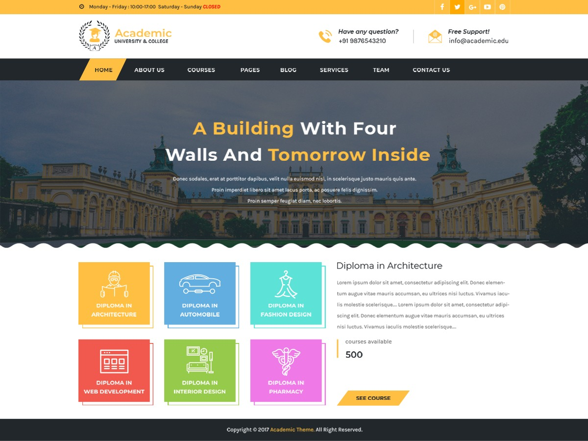 Academic Education business WordPress theme