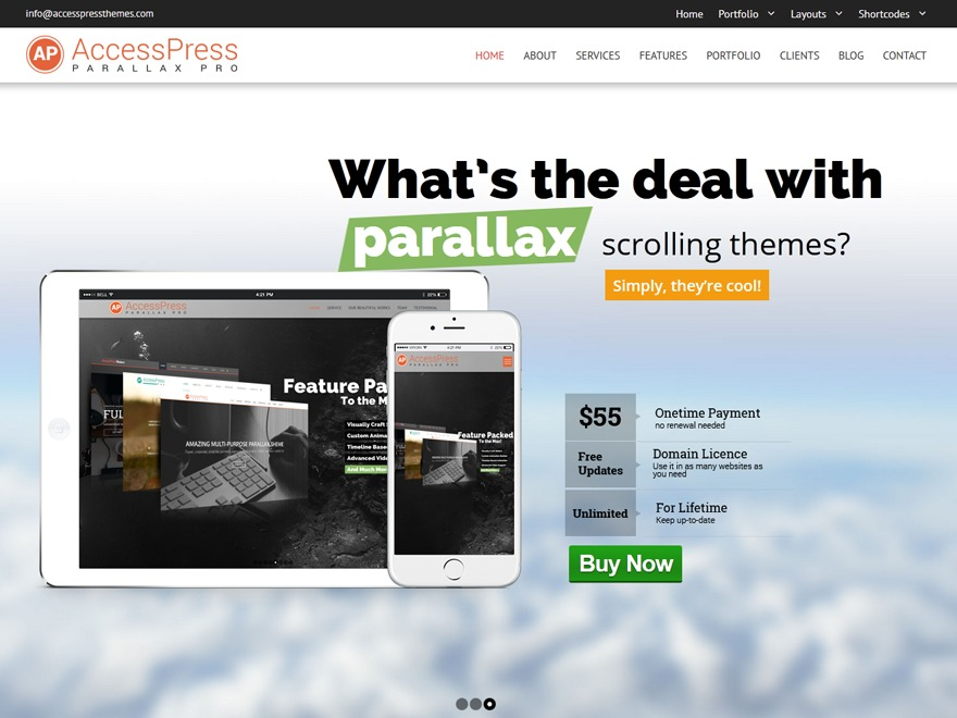 WP theme Accesspress Parallax Pro Child