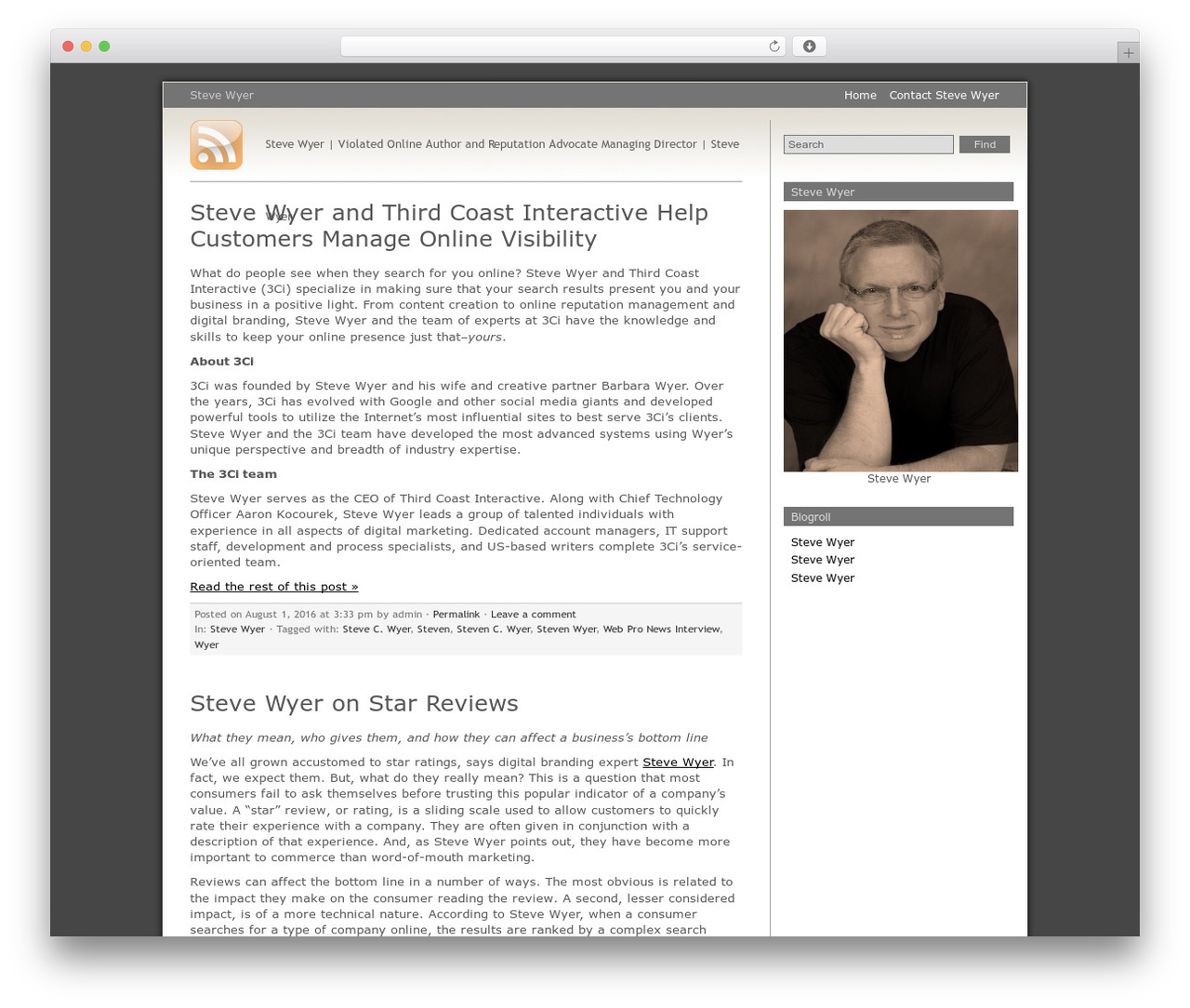 Grey Matter WP theme - stevewyer.info