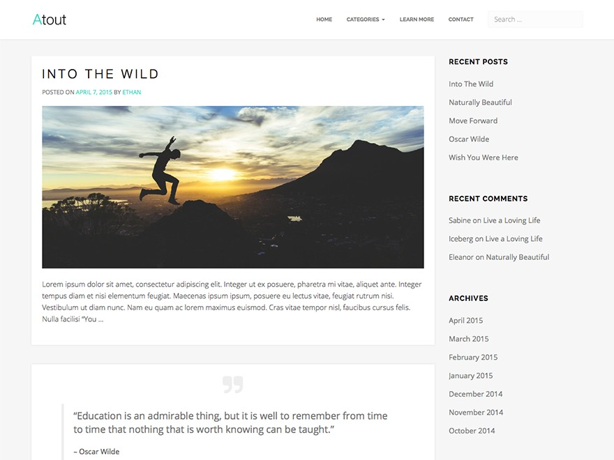 Atout WordPress blog template