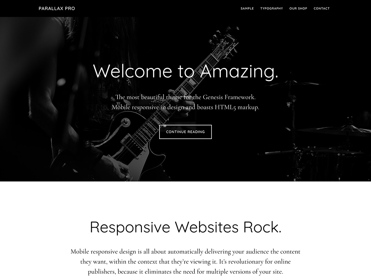 Best WordPress template Parallax Pro