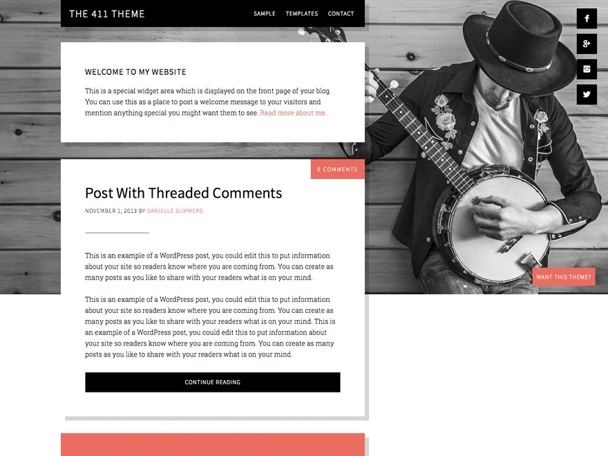 Best WordPress template The 411 Pro Theme