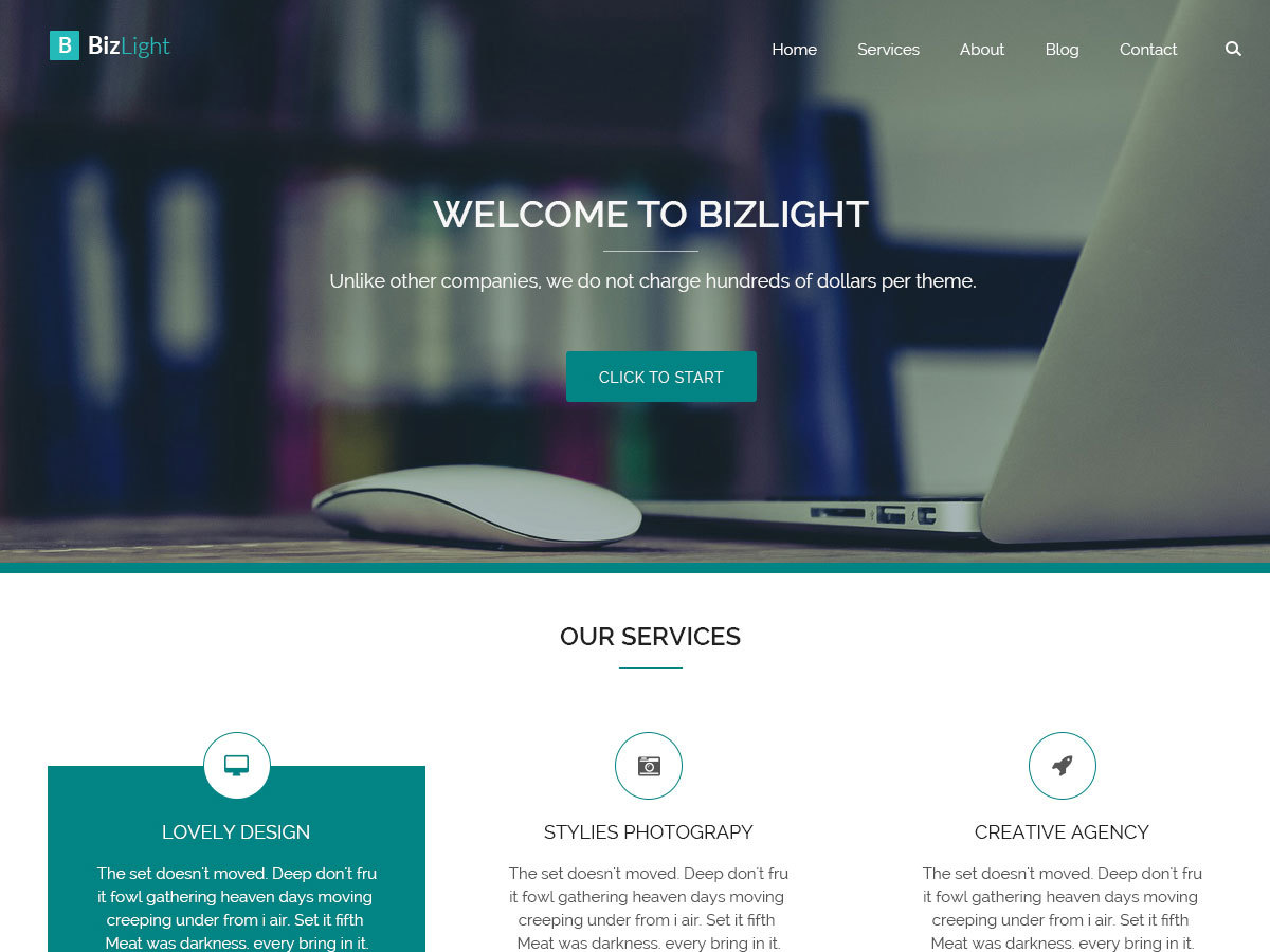 Bizlight theme WordPress free