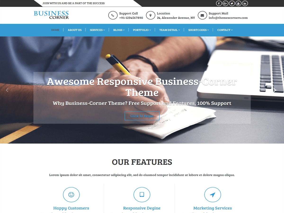 Business Corner free WordPress theme