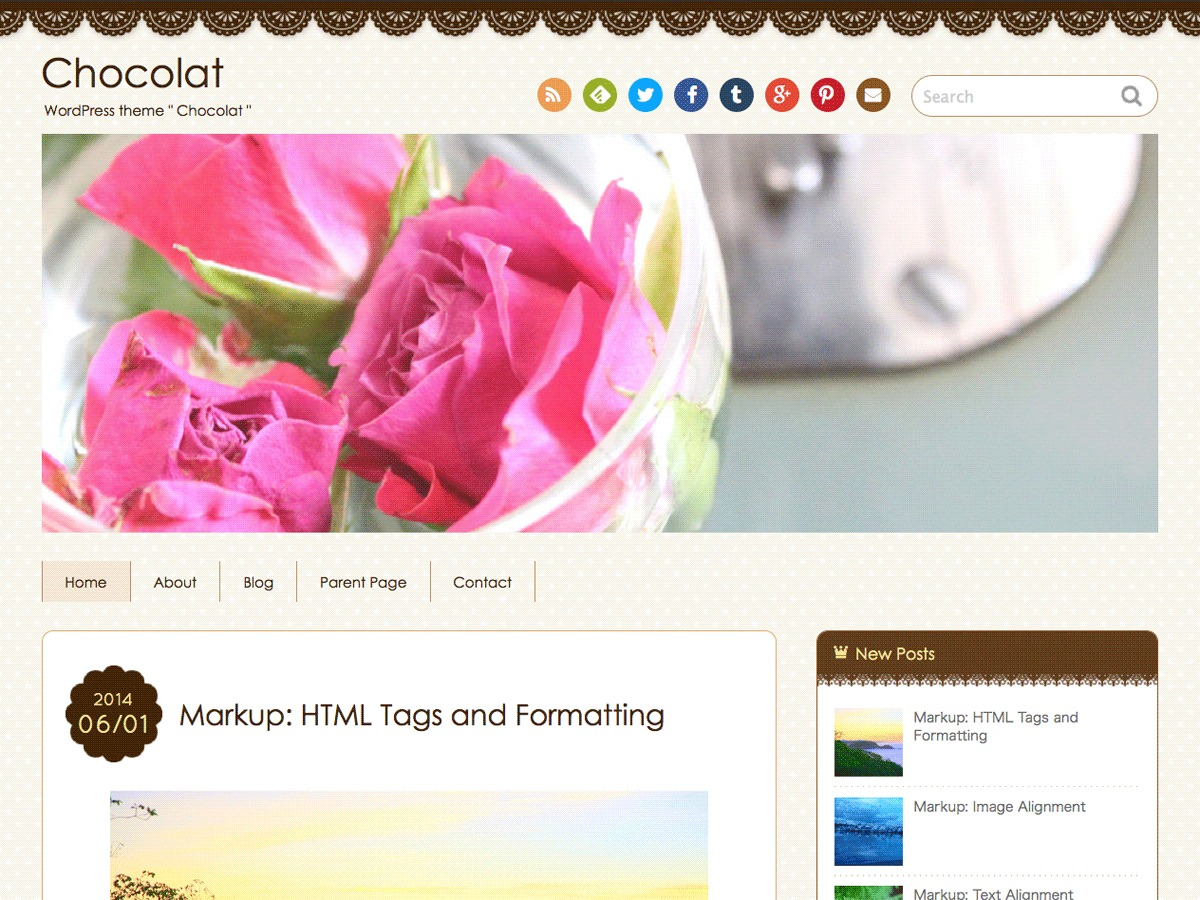 Chocolat WordPress blog template