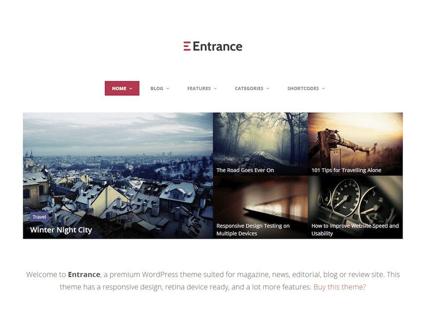 Entrance WordPress news template