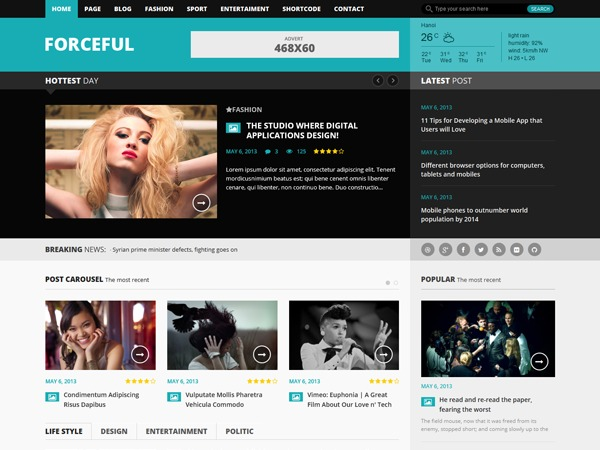 Forceful WordPress magazine theme