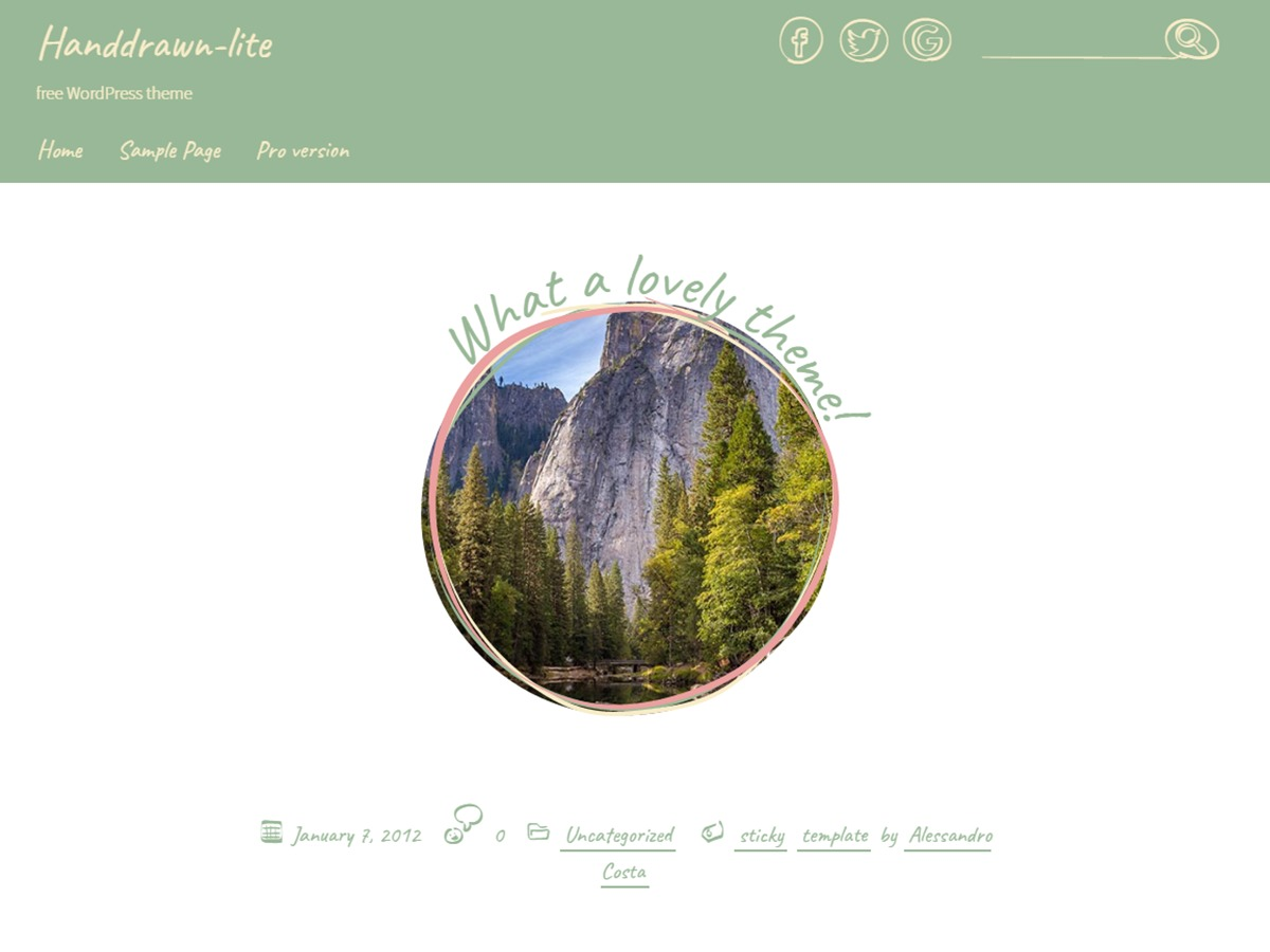 Handdrawn-lite free WP theme
