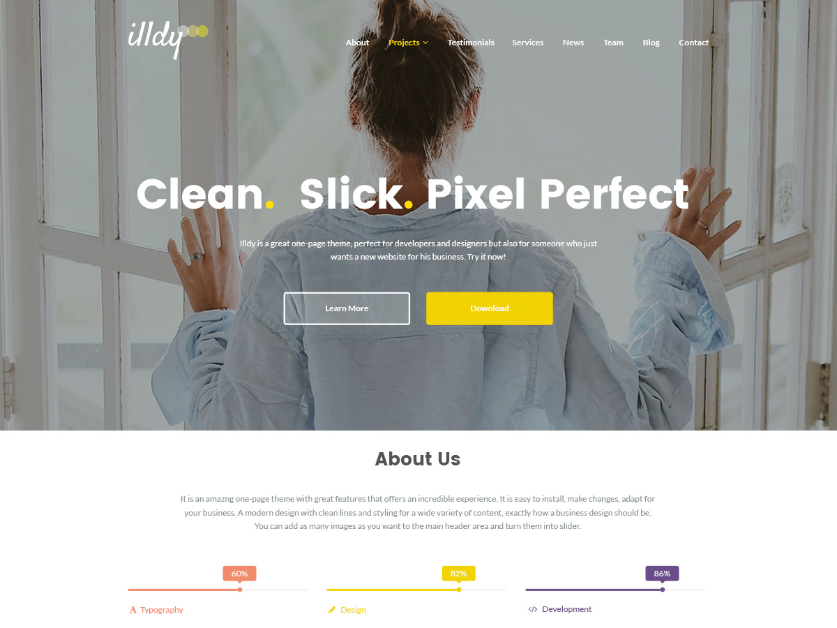 Illdy Child personal blog WordPress theme