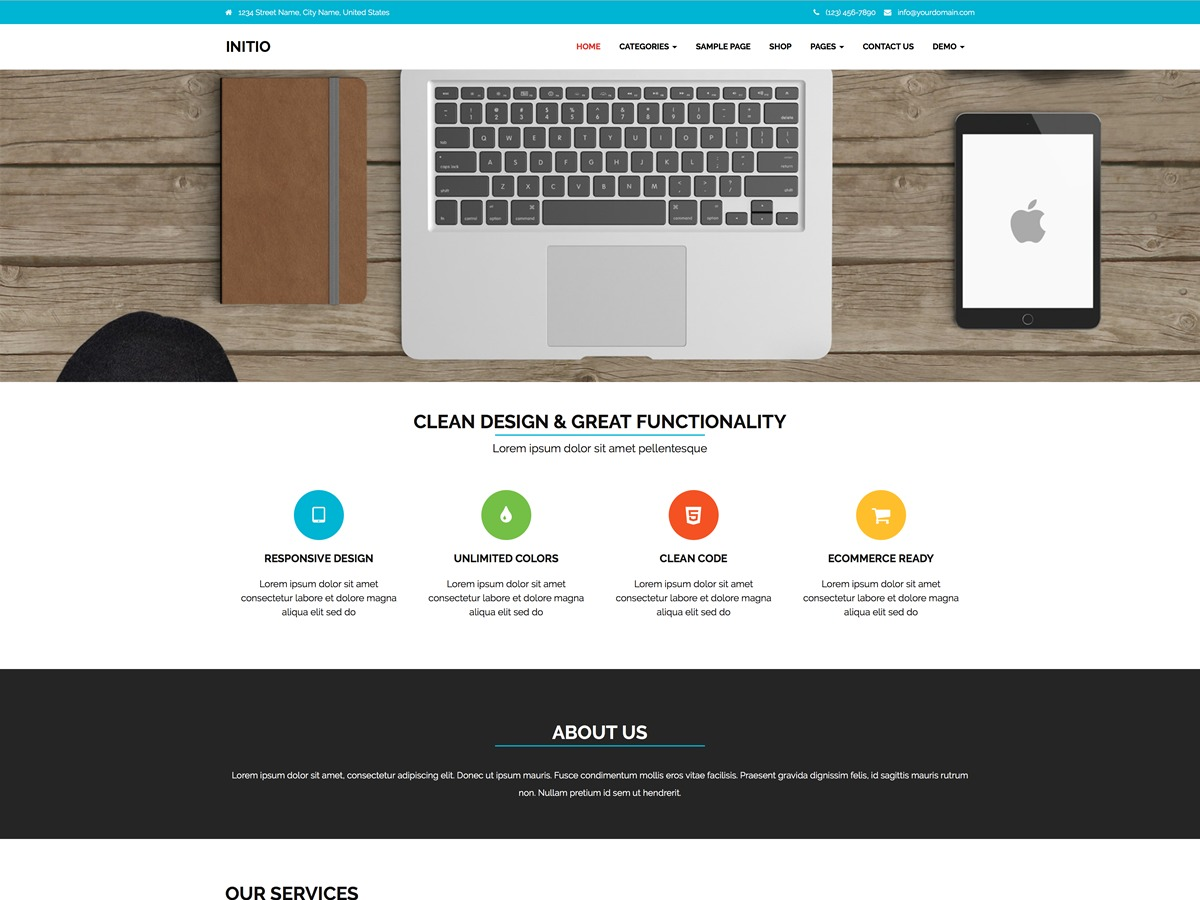 Initio template WordPress free