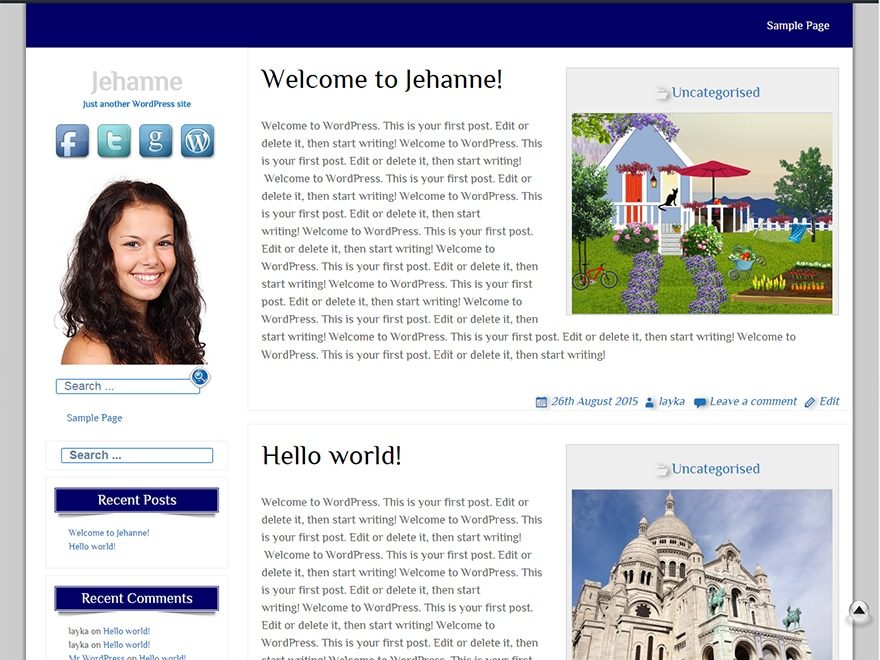 Jehanne WordPress blog template