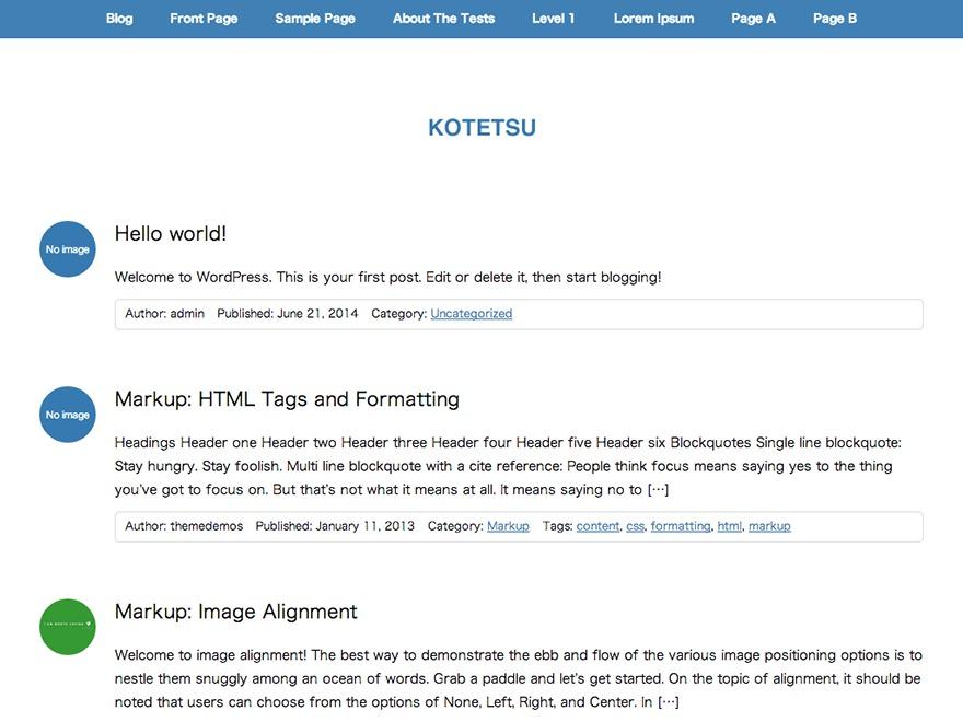 Kotetsu WordPress blog template