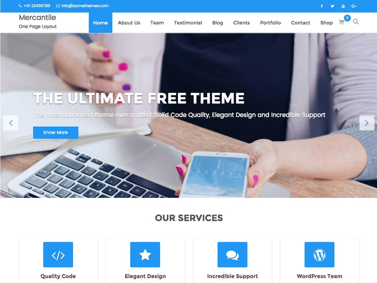 Mercantile WordPress portfolio template