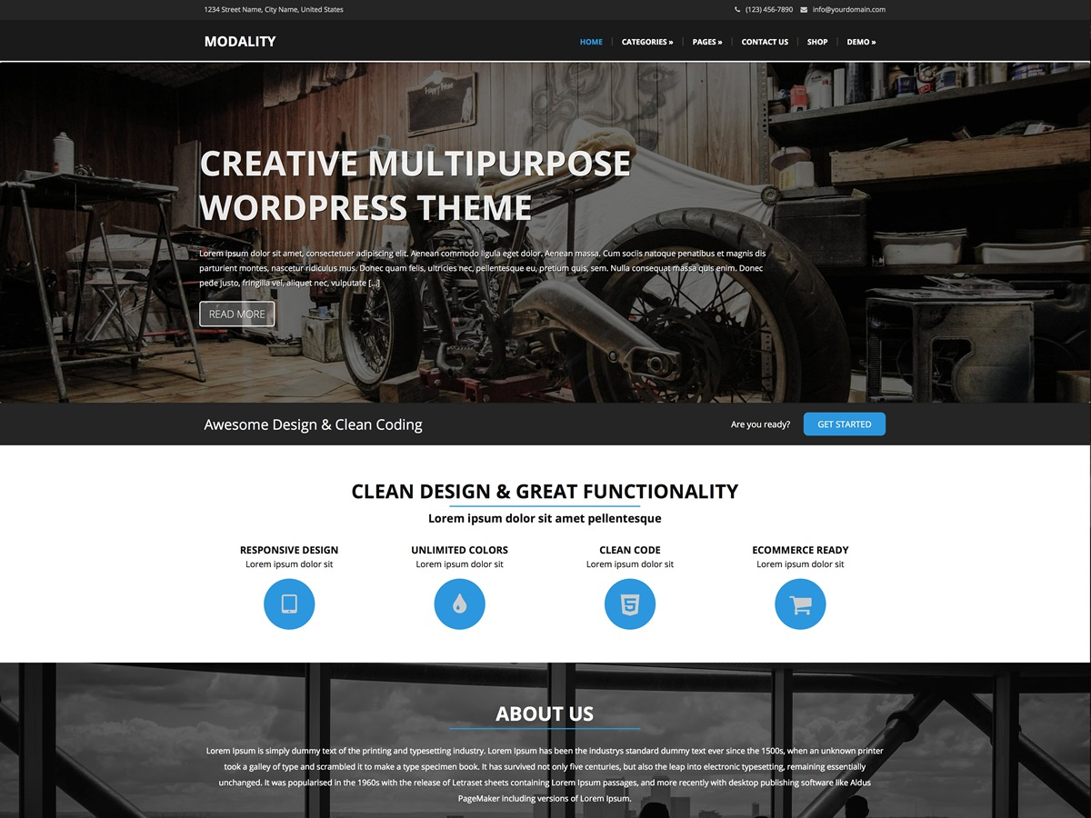 Modality Pro WordPress store theme
