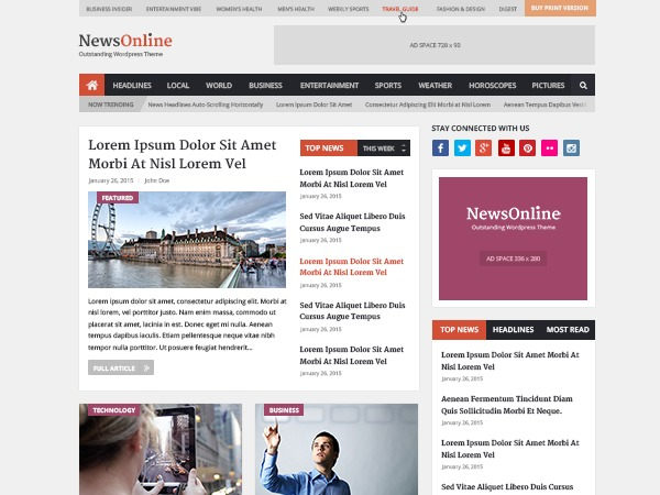 NewsOnline by MyThemeShop WordPress news template