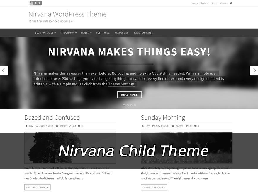 Nirvana Child (no copyright link) WordPress theme design