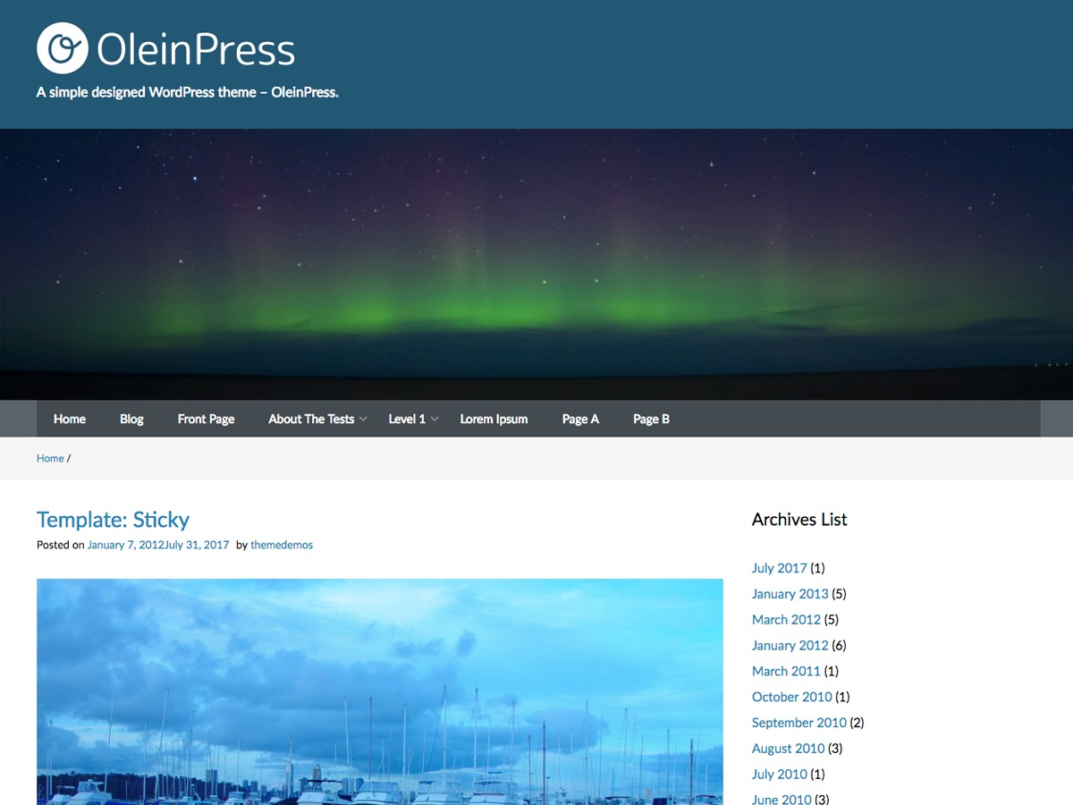 OleinPress theme free download