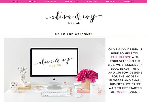 Olive & Ivy Design custom theme WP theme
